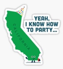 Character Building -  California, knows how to party… Sticker