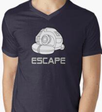 Sci-fi Escape Pod Design with Wording Men's V-Neck T-Shirt