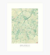 Brussels Map Blue Vintage Art Print