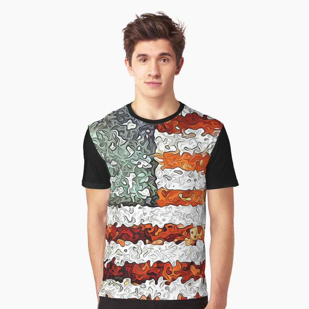 American Flag Abstract Graphic T-Shirt