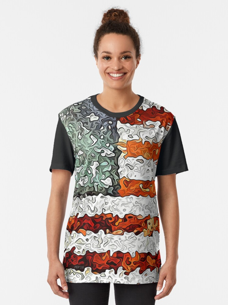Alternate view of American Flag Abstract Graphic T-Shirt