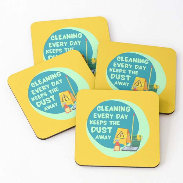 Cleaning Every Day Housekeeping Humor Coasters (Set of 4)