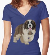 On A Mission - The Saint Bernard Women's Fitted V-Neck T-Shirt