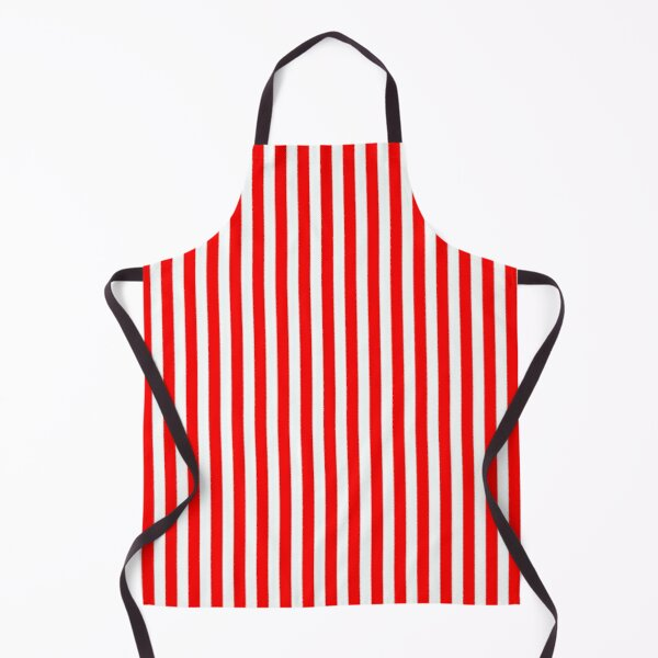 Classic Red and White Vertical Stripes Apron