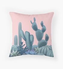 Serenity Cacti on Rose Quartz Background Throw Pillow