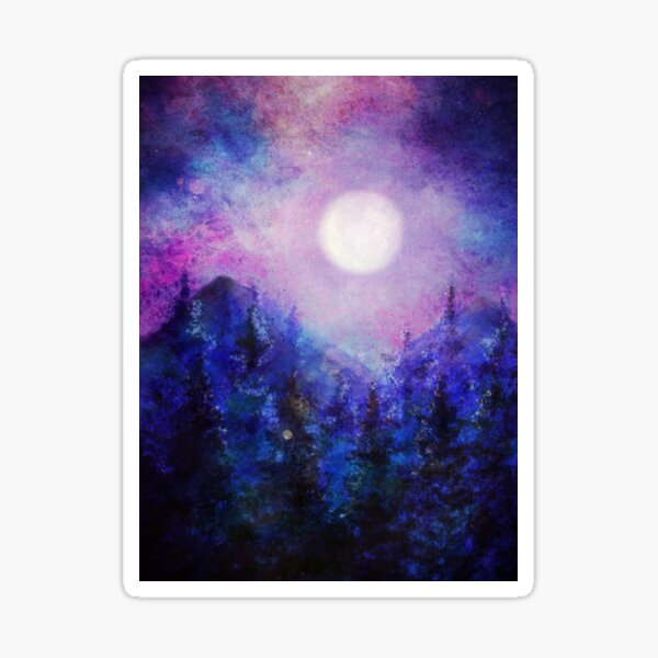 Digital watercolor: full moon on purple, blue and pink forest Sticker