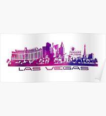 Las Vegas skyline purple Poster