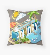 Cruise-Holiday-Vehicle-Isometric Throw Pillow