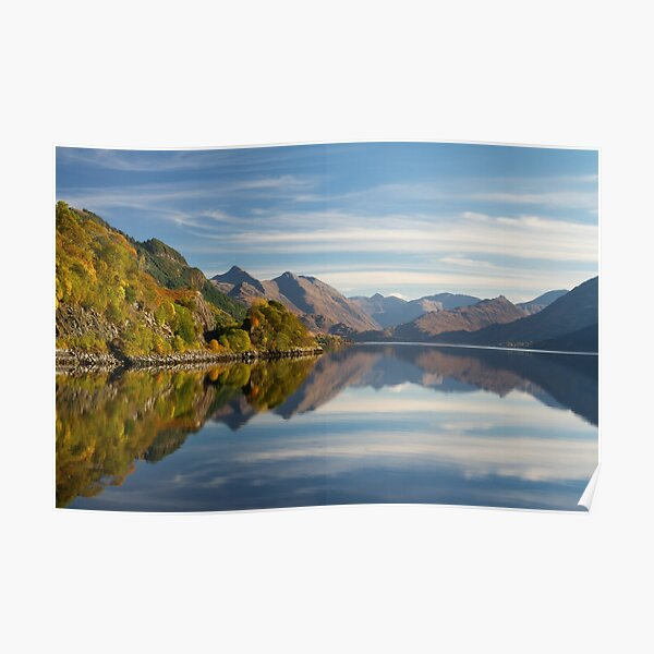Five Sisters in Autumn  and Loch Duich Inverinate Scotland. Poster