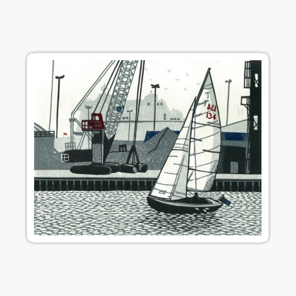 Poole Quay - Original linocut by Francesca Whetnall Sticker