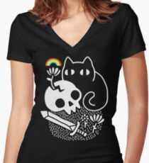 Cat & Stuff Women's Fitted V-Neck T-Shirt