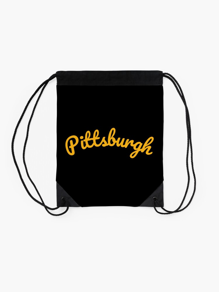 Alternate view of Pittsburgh Steel City 412 Pennsylvania Cursive Text Drawstring Bag