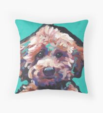 Toy Poodle Dog Bright colorful pop dog art Throw Pillow