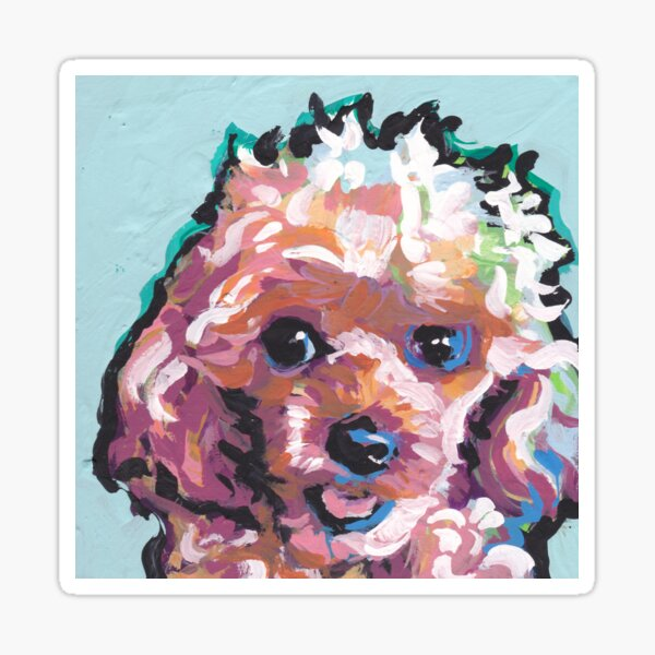 Toy Poodle Dog Bright colorful pop dog art Sticker