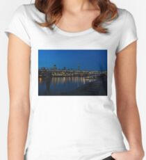 British Symbols and Landmarks - Millennium Bridge and Thames River at Low Tide Women's Fitted Scoop T-Shirt