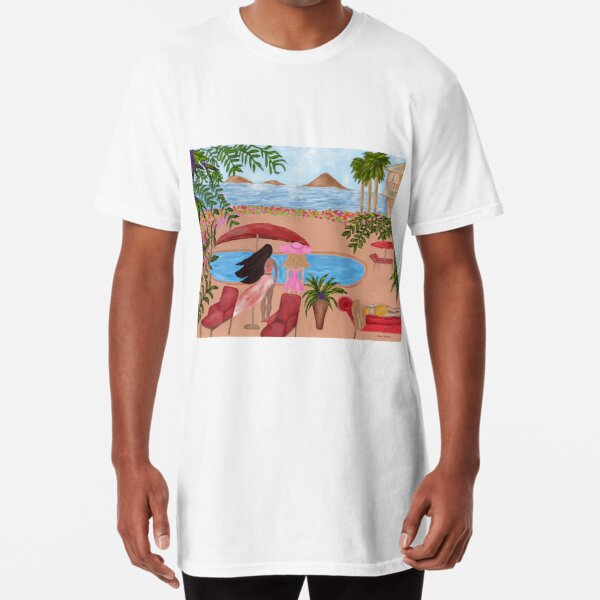 Ladies In Paradise By Loure Bussey, Tropical Artwork, Colorful Artwork, Ocean Art Long T-Shirt