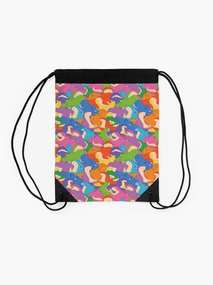Alternate view of Laughing Hippos - bright Drawstring Bag