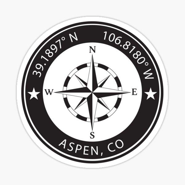 Aspen, Colorado Geographical Coordinates Sticker