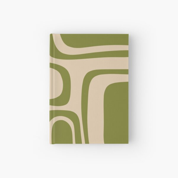 Palm Springs Retro Midcentury Modern Abstract Pattern in Mid Mod Beige and Olive Green Hardcover Journal