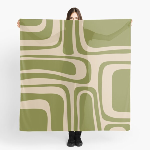 Palm Springs Retro Midcentury Modern Abstract Pattern in Mid Mod Beige and Olive Green Scarf