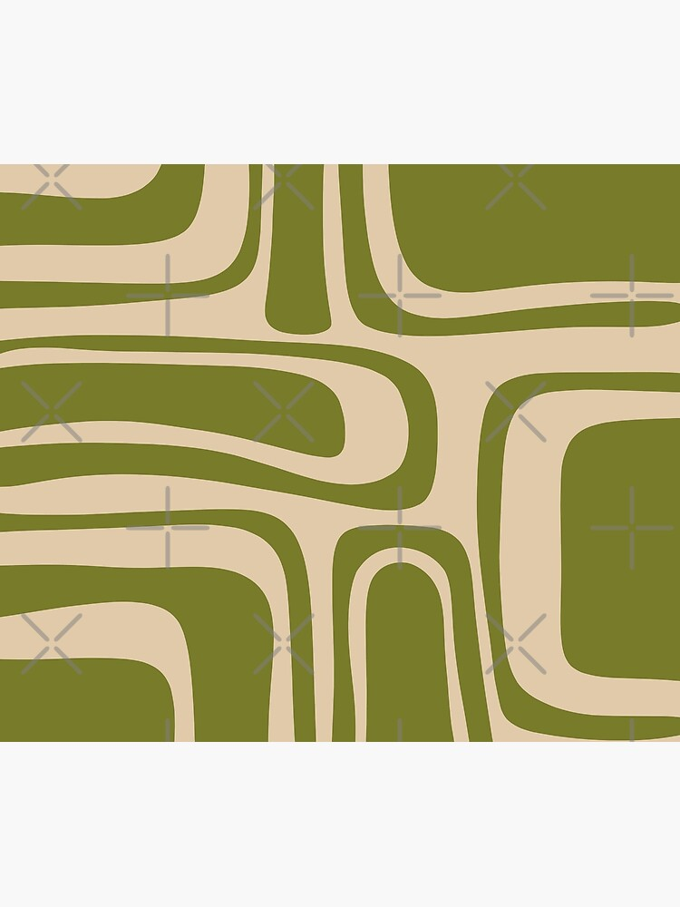 Palm Springs Retro Midcentury Modern Abstract Pattern in Mid Mod Beige and Olive Green by kierkegaard