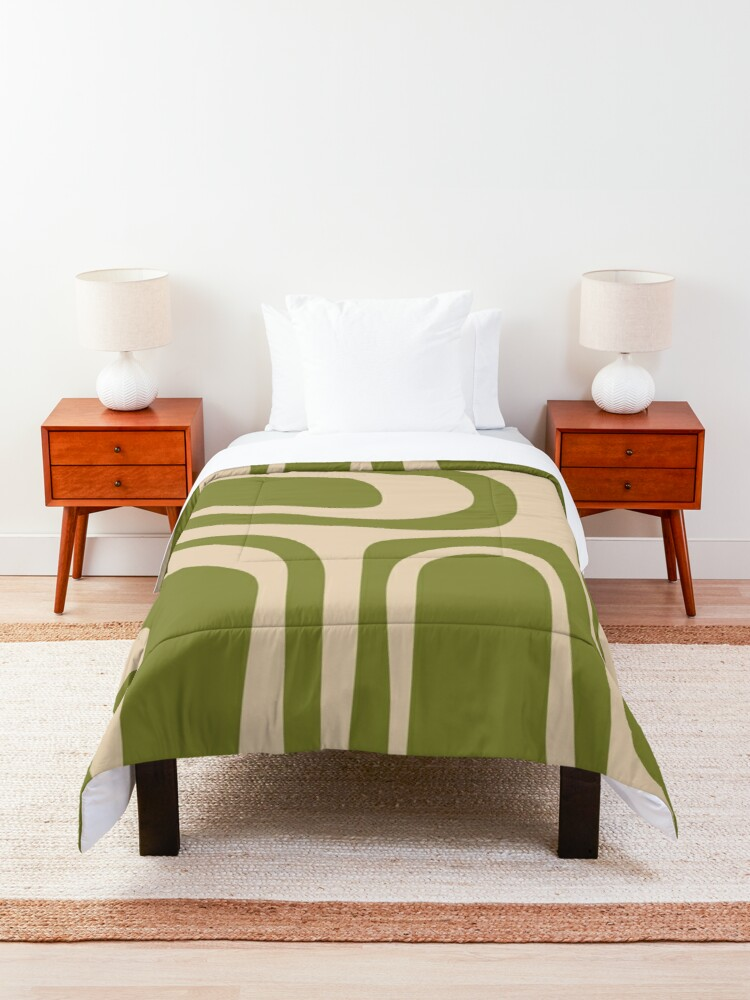Alternate view of Palm Springs Retro Midcentury Modern Abstract Pattern in Mid Mod Beige and Olive Green Comforter