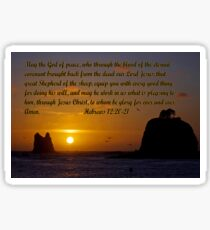 peaceful sunset w/hebrews 13:20-21 Sticker