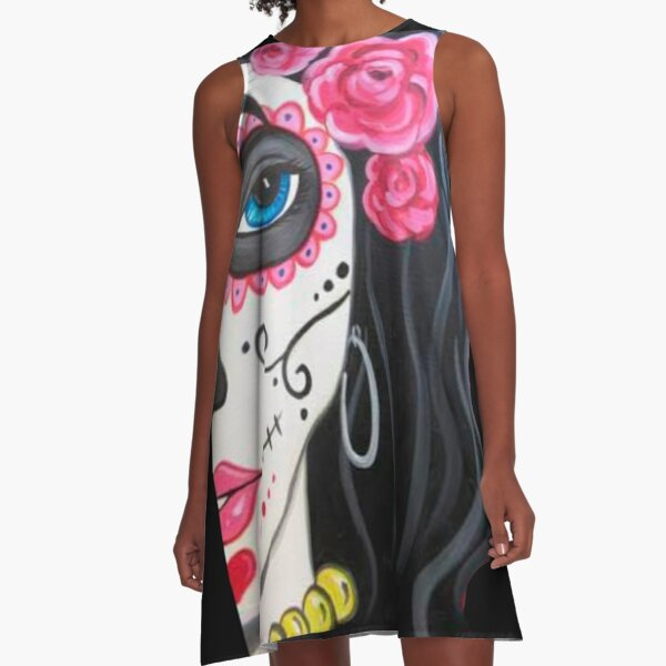 Sugar Skull Girl A-Line Dress
