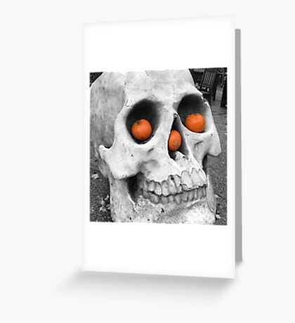 Skull with pumpkins Greeting Card