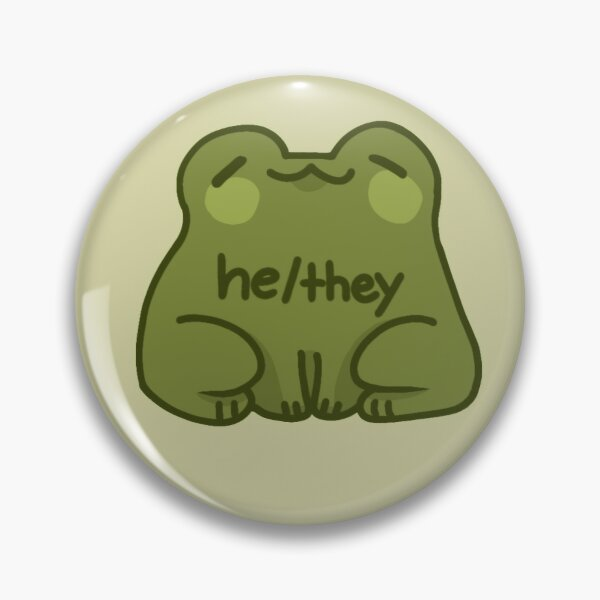 He/They Frog Pronouns Pin