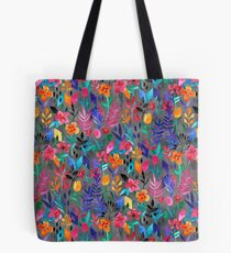 Popping Color Painted Floral on Grey Tote Bag