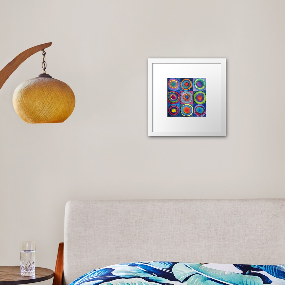 Circles - abstract watercolour by Francesca Whetnall Framed Art Print