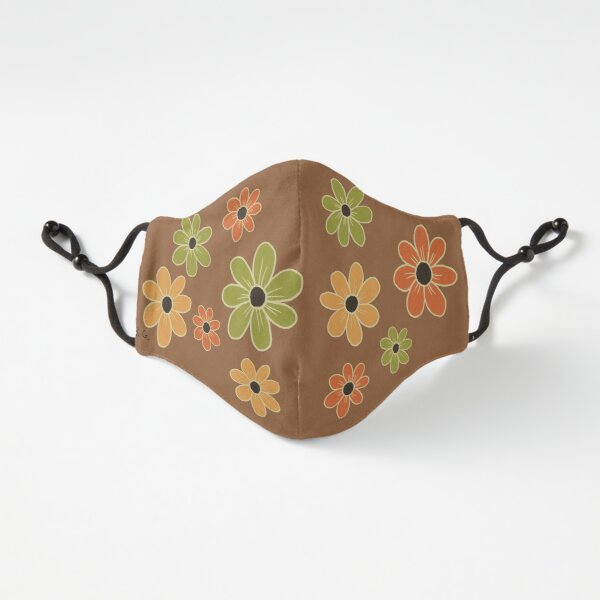 Retro Colors Floral Mask  Fitted 3-Layer