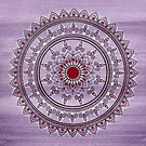 Hand Drawn Pretty Purple And Red Mandala Flower by Zedart
