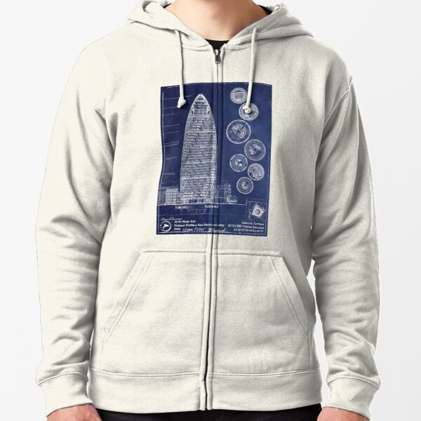 30 St Mary Axe Architecture Blueprint [A] Zipped Hoodie
