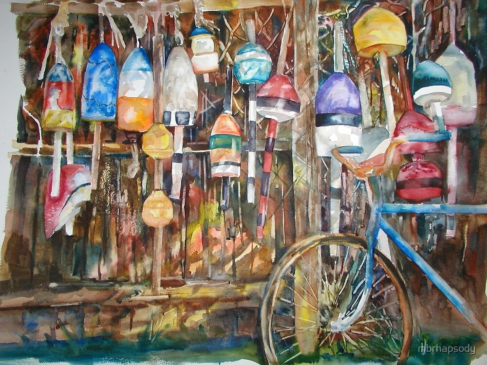 Bouys & Bicycle Watercolor by Marybeth Cunningham