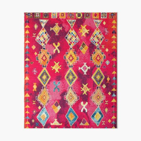 Pink Oriental Bohemian Traditional Moroccan Style Artwork Art Board Print
