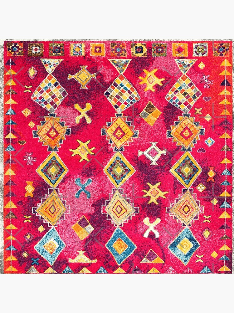 Pink Oriental Bohemian Traditional Moroccan Style Artwork by Arteresting