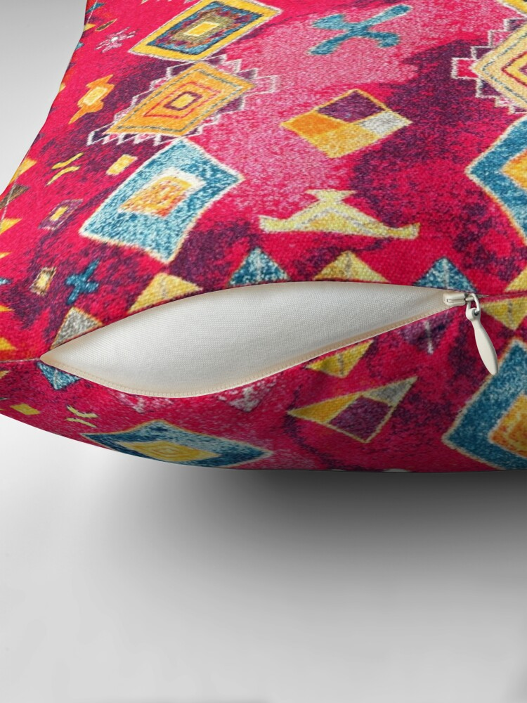 Alternate view of Pink Oriental Bohemian Traditional Moroccan Style Artwork Throw Pillow