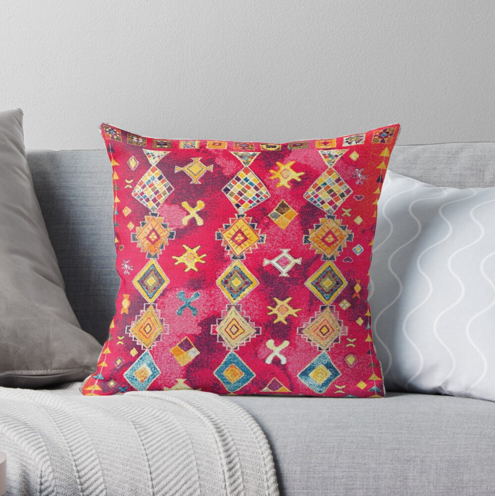 Pink Oriental Bohemian Traditional Moroccan Style Artwork Throw Pillow