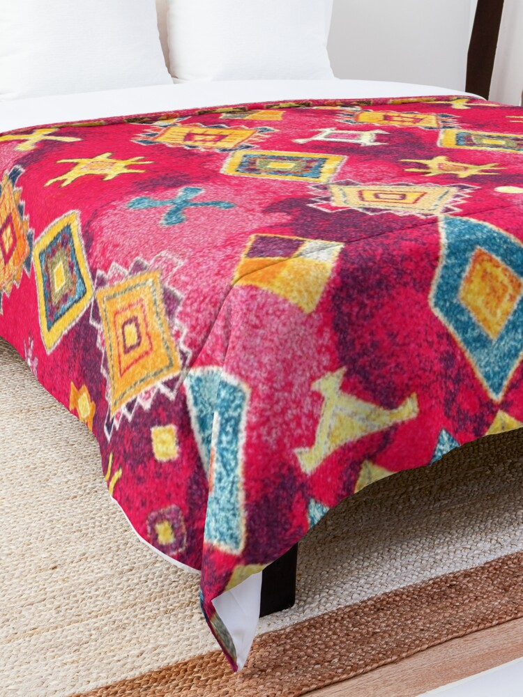 Alternate view of Pink Oriental Bohemian Traditional Moroccan Style Artwork Comforter