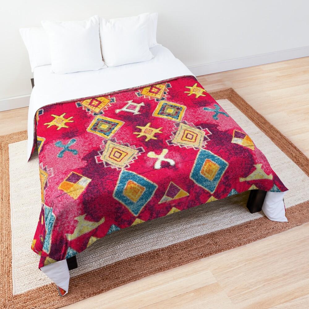 Pink Oriental Bohemian Traditional Moroccan Style Artwork Comforter