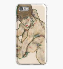Egon Schiele - Crouching Nude Girl 1914  Egon Schiele  Woman Portrait iPhone Case/Skin