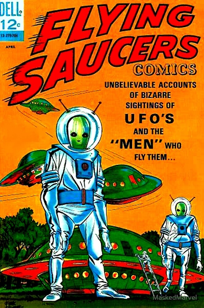 Retro Vintage Comic Book Cover Flying Saucers no.1, UFO by MaskedMarvel