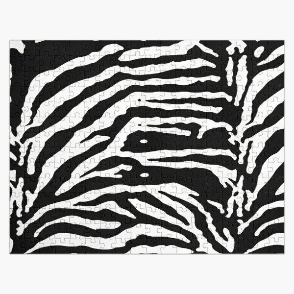 Zebra Skin Camouflage Black and White Pattern Jigsaw Puzzle