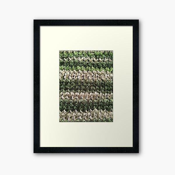Green Knitted Pattern Framed Art Print