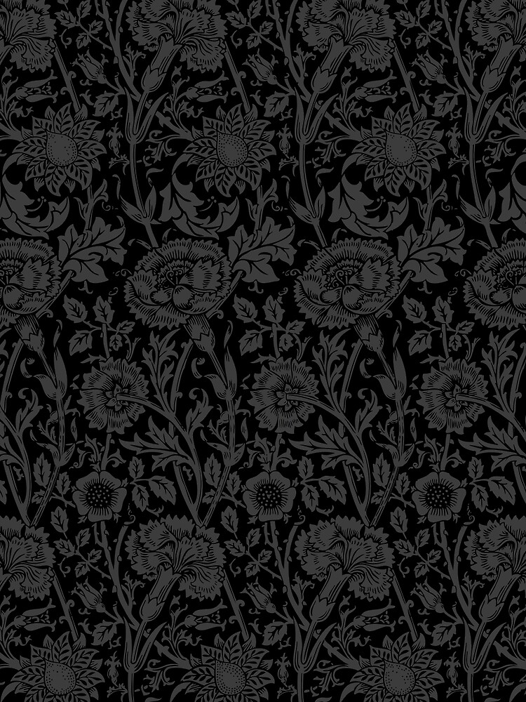 William Morris Carnations | Black and Grey Floral Pattern | Flower Patterns | Vintage Patterns | Classic Patterns | by EclecticAtHeART