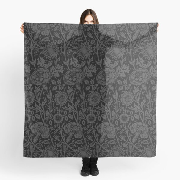 William Morris Carnations   Black and Grey Floral Pattern   Flower Patterns   Vintage Patterns   Classic Patterns   Scarf