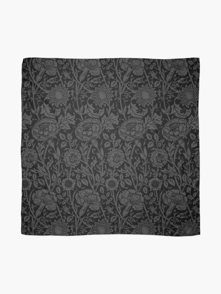 Alternate view of William Morris Carnations | Black and Grey Floral Pattern | Flower Patterns | Vintage Patterns | Classic Patterns | Scarf