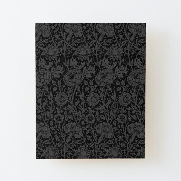 William Morris Carnations   Black and Grey Floral Pattern   Flower Patterns   Vintage Patterns   Classic Patterns   Wood Mounted Print